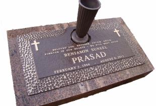 Bronze Memorial Plaque with Vase on Pacific Red Granite