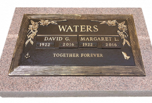 Double Bronze Plaque on Rose Granite