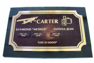 Bronze Memorial Plaque on Ebony Black Granite