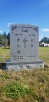 Double Sera Grey Serp-Top Granite Upright Headstone