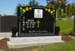 Double Ebony Black Serp Top Granite Upright Memorial