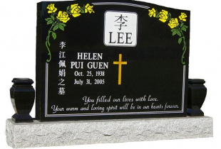 Double Ebony Black Serp Top Granite Upright Headstone with Vases