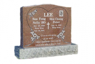 Double Mountain Rose Serp Top Granite Upright Headstone