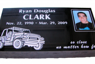 Front Polished Ebony Black Flat Grass Single Marker with Rock-Pitched Edges & Photo Plaque