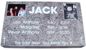 Polished Dark Impala Flat Grass Marker with Photo Plaques