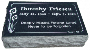 Polished Front Ebony Black Flat Grass Marker with Rock Pitched Edges