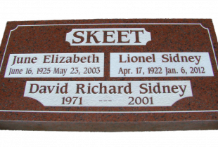 Family Pacific Red Granite Flat Grass Marker