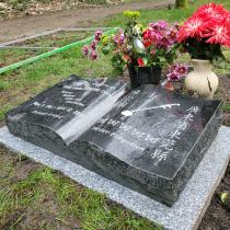 Ebony Black Open Book Pillow Headstone
