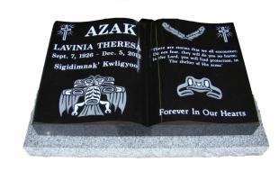 Ebony Black Open Book Granite Pillow Marker