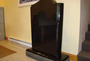 Ebony Black Book Top Granite Upright Headstone