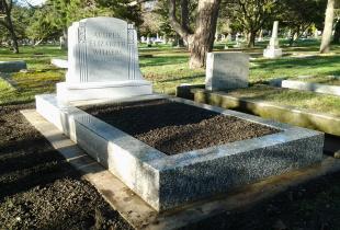 Sera Grey Custom Shape Upright Granite Headstone with Bed