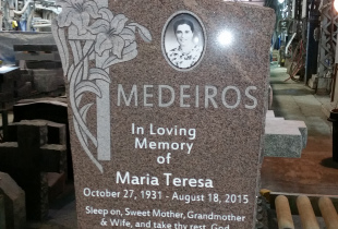 Mountain Rose Custom Top Granite Upright Headstone with Photo Plaque