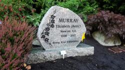 Sera Grey Polished Granite Boulder Upright Headstone