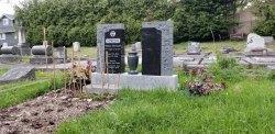 Double Dark Impala Charcoal Granite Upright Headstone with Emerald Granite Vase