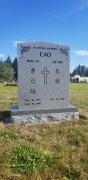 Double Sera Grey Serp-Top Granite Upright Headstone