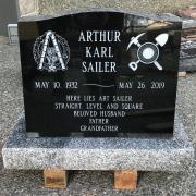 Ebony Black Serp Top Granite Upright Headstone