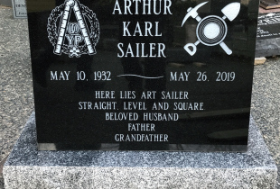 Ebony Black Serp Top Granite Upright Headstone