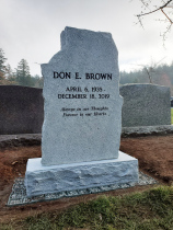Sitka Grey Granite Upright Boulder Headstone