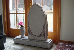 Mountain Rose Custom Upright Headstone with Vase