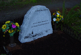 Family Sera Grey Upright Boulder Headstone with Bronze Vases