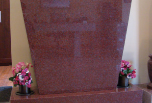 Pacific Red Sera Top Upright Granite Headstone with Bronze Vases