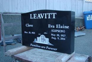 Double Ebony Black Serp Top Upright Granite Headstone