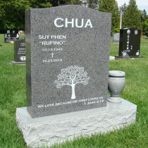 Sera Grey Serp Top Granite Upright Headstone with Vase