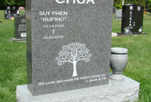 Sera Grey Serp Top Granite Upright Headstone with Vase