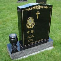 Ebony Black Serp Top Granite Upright Headstone with Vase