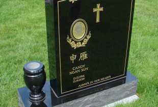 Ebony Black Serp Top Granite Upright Headstone with Vase