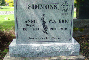 Sitka Grey Granite Upright Headstone