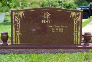 Double Pacific Red Granite Serp Top Upright Headstone with Vases