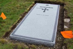 Sera Grey Granite Full Grave Cover with Core Hole