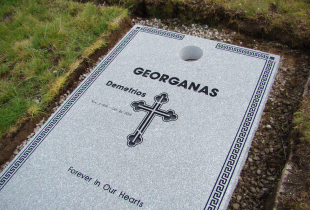 Sera Grey Granite Full Grave Cover with Core Hole