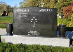 Multiple Name Ebony Black Serp Top Granite Upright Headstone with Vases
