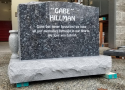 Blue Pearl Serp Top Granite Upright Headstone with Vases (Back)