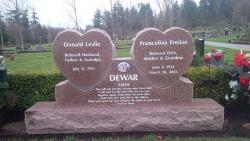Double Custom Hearts Granite Upright Headstone