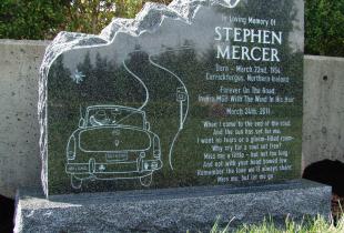 Sera Grey Granite Upright Boulder Headstone