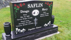 Double Ebony Black Serp Top Granite Upright Headstone with Two Vases