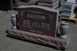 Double Mountain Rose Serp Top Upright Headstone with Two Sera Grey Granite Vases