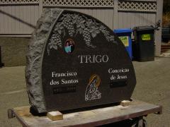 Double Dark Charcoal Polished Granite Boulder Upright Headstone