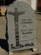 Double Sera Grey Polished Granite Boulder Upright Headstone