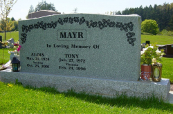 Double Sera Grey Serp Top Granite Headstone