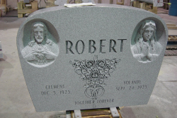 Sera Grey Custom Rounded  Granite Upright Headstone with Carved Portraits