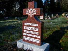 Pacific Red Granite First Nations Cross Upright Headstone