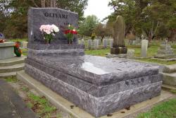 Custom Bahama Blue Serp Top Curbing Grave Cover