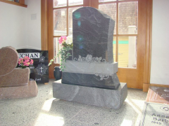 Sera Grey & Dark Impala Custom Granite Upright Headstone with One Vase