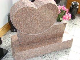 Mountain Rose Custom Heart Shaped Granite Upright Headstone