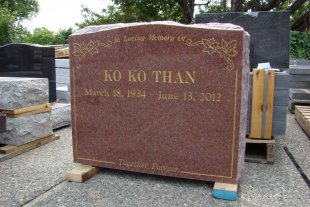 Double Pacific Red Serp Top Granite Upright Headstone