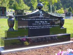 Polished Ebony Black Pagoda Top Granite Headstone with Two Polished Vases & Sphere